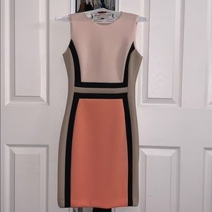 Calvin Klein fitted color block dress